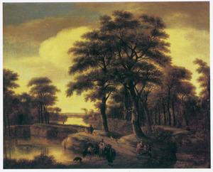 Landschap met wandelaars en reizigers op een weg langs een rivier