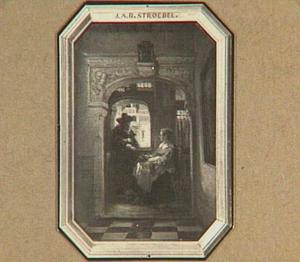 Vrouw die een conversatie voert met een man aan het raam