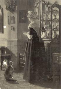 Amsterdams burgerweesmeisje bij een vitrinekast