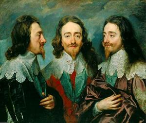 Portret van Karel I van Engeland (1600-1649) vanuit drie gezichtspunten