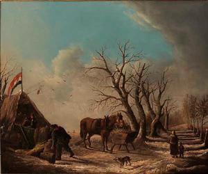 Winterlandschap met boeren voor een tent