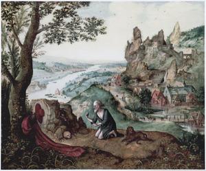 Panoramalandschap met de boetvaardige H. Hiëronymus