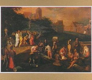 De genezing van de blinde (Johannes 9) met op de voorgrond zagende en rustende arbeiders