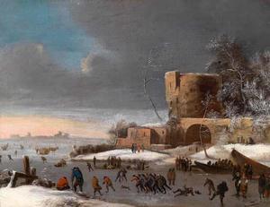Winterlandschap met schaatsers aan de voet van een bastion