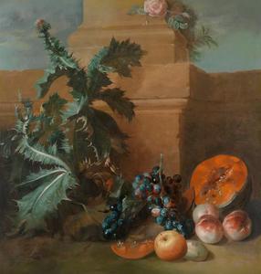 Stilleven met vruchten en bloeiende distel