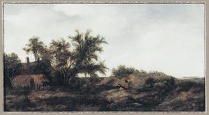 Duinlandschap met enkele figuren nabij een boerderij
