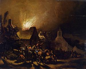 Plunderaars bij een brandend dorp