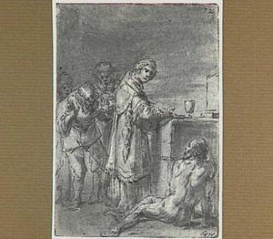 De naakte Lazarillo sleept zich naar het altaar (Lazarillo de Tormes dl. 2, cap. 20, p. 126)