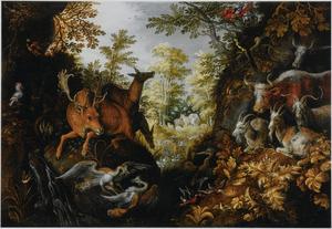 Woudlandschap met velerlei dieren