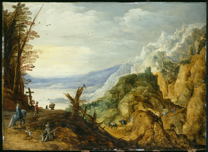 Weids berglandschap met reizigers, op de achtergrond een kasteel op een bergtop
