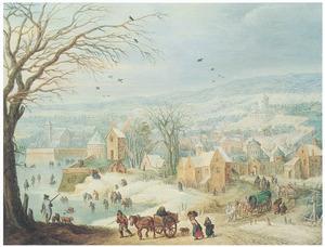 Winterlandschap met gezicht op een stad