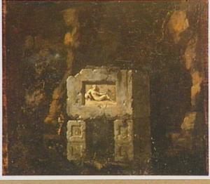 Landschap met ruïne van een antiek monument