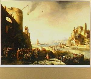 Cornelius valt Petrus te voet bij diens aankomst te Caesarea (Handelingen 10:25-26)