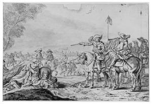 Legeraanvoerder met soldaten en een veldslag