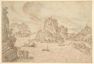 Rivierlandschap met schepen en bergdorpen