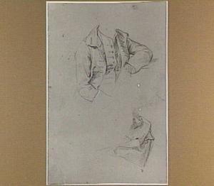 Kostuumstudie van een zittende man en draperiestudie