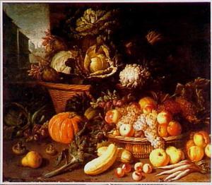 Stilleven van vruchten en groenten met links een doorkijk naar een stad