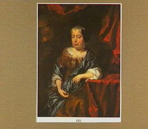 Portret van een vrouw met zwarte kap, zittend naar links
