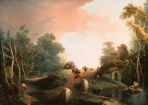 Reizigers in een heuvellandschap
