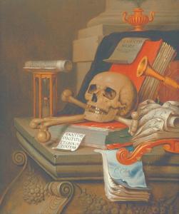 Vanitasstilleven met schedel, muziekinstrumenten en boeken op een sarcofaag