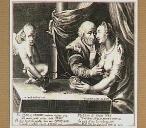 Allegorie op ongelijke liefde: oude man met jonge vrouw