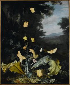 Bosstilleven met slang, vlinders, lieveheersbeestje en slak, een heuvellandschap op de achtergrond