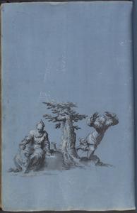 Man, vrouw en kind bij een boom (rust op de vlucht naar Egypte?)