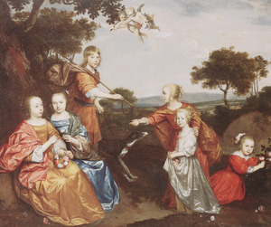 Portret van zes onbekende kinderen