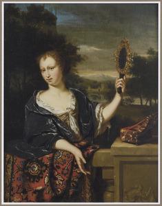 Jonge vrouw met handspiegel, staande achter een balustrade