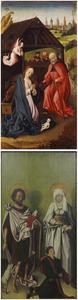 De geboorte van Christus (binnenzijde links); Stichter met Johannes de Doper en vrouwelijke heilige (buitenzijde links)
