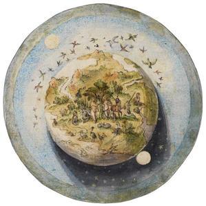 Adam and Eve in het hof van Eden, afgebeeld in een globe