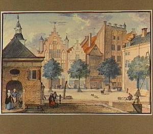 Dordrecht, de Beurs met de huizen Bleyenburg en Leeuwenstein (later: Ary Schefferplein)