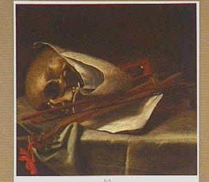 Vanitasstileven met schedel en muziekbladen