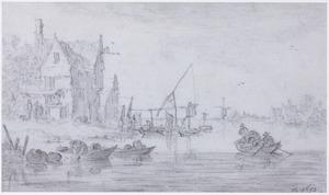 Riviergezicht met vissers