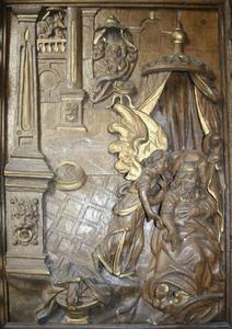 De drie wijzen gewaarschuwd in een droom, detail van de preekstoel uit de kerk van Asperup (Denemarken)