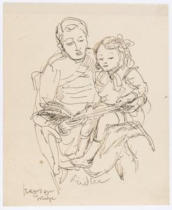 Moeder leest kind voor uit het sprookje Hans en Grietje