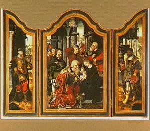 De aanbidding van de Wijzen (op de buitenluiken: de visitatie en de geboorte)