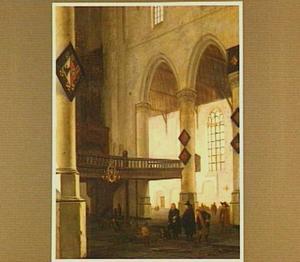 Gezicht op het orgelbalkon in de Oude Kerk te Delft