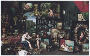 Allegorie van het gezicht (een van de vijf zintuigen): Venus en Cupido in een kunstgallerij