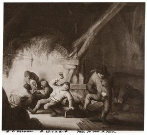 Drinkende en dansende boeren in een schuur