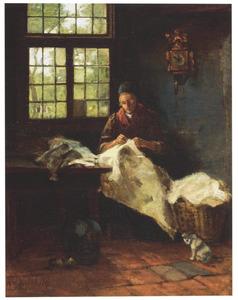 Verstellende vrouw in een interieur