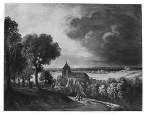 Panoramalanschap met kerkje