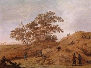 Duinlandschap met mensen en geiten