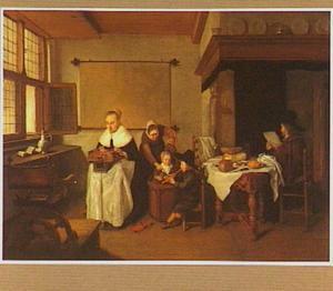 Interieur met een familie