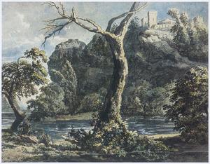 Boomrijk berglandschap met kasteel en rivier