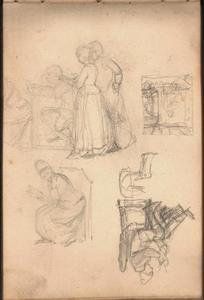 Studies van figuren, o.a. in een kerk