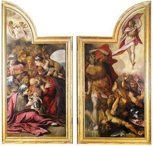 De geboorte van Christus (links); De opstanding van Christus (rechts)