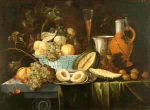 Stilleven met vruchten en drinkgerei