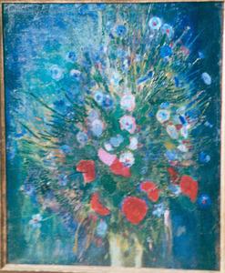 Blauw boeket - Korenbloemen met klaproos