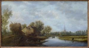 Polderlandschap met een kanaal en hooiwagens bij een boerderij